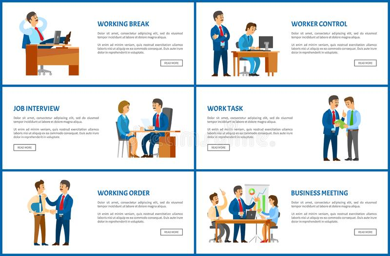 Work Task and Order of Boss, Job Interview Candidate. Vector. Break of chief executive relaxing on chair. Worker monitor supervising employee working vector illustration
