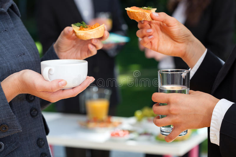 Work team at lunch royalty free stock photography