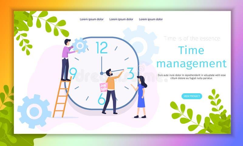 Work Time Management Organization Vector Banner. Female Manager control Human Resources Economy. People Analyze Development Timeline Improvement. Male Decrease stock illustration