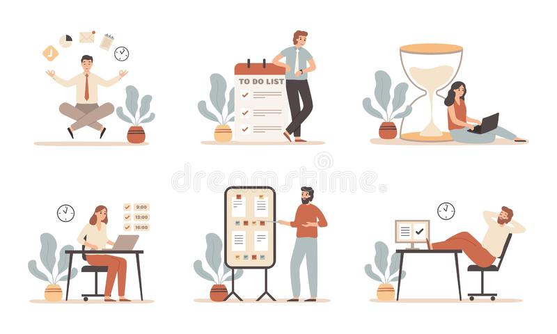 Work time management. Scheduling tasks, deadline strategy and office people working with laptop computer flat vector vector illustration