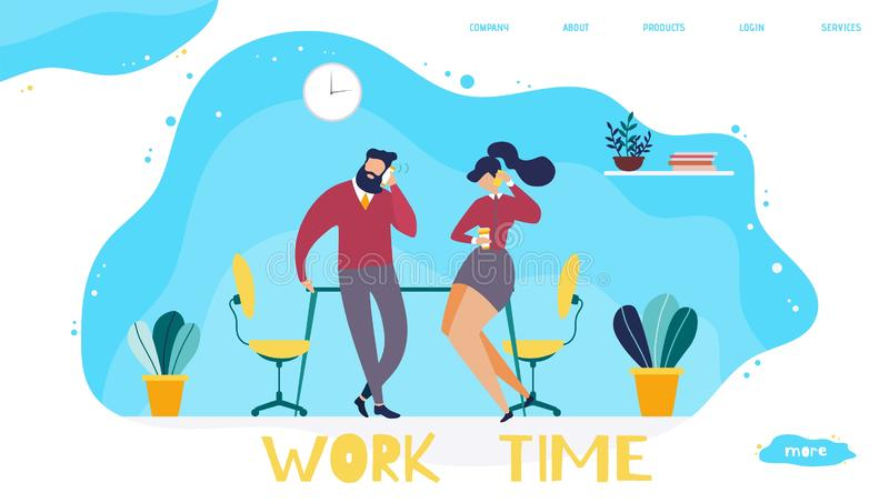 Work Time Organization in Office Landing Page royalty free illustration
