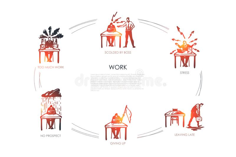 Work - too much work, no respect, giving up, leaving late, stress, scolded by boss concept set stock illustration