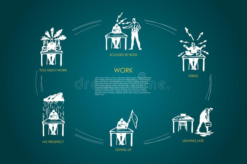Work - too much work, no respect, giving up, leaving late, stress, scolded by boss vector concept set royalty free illustration