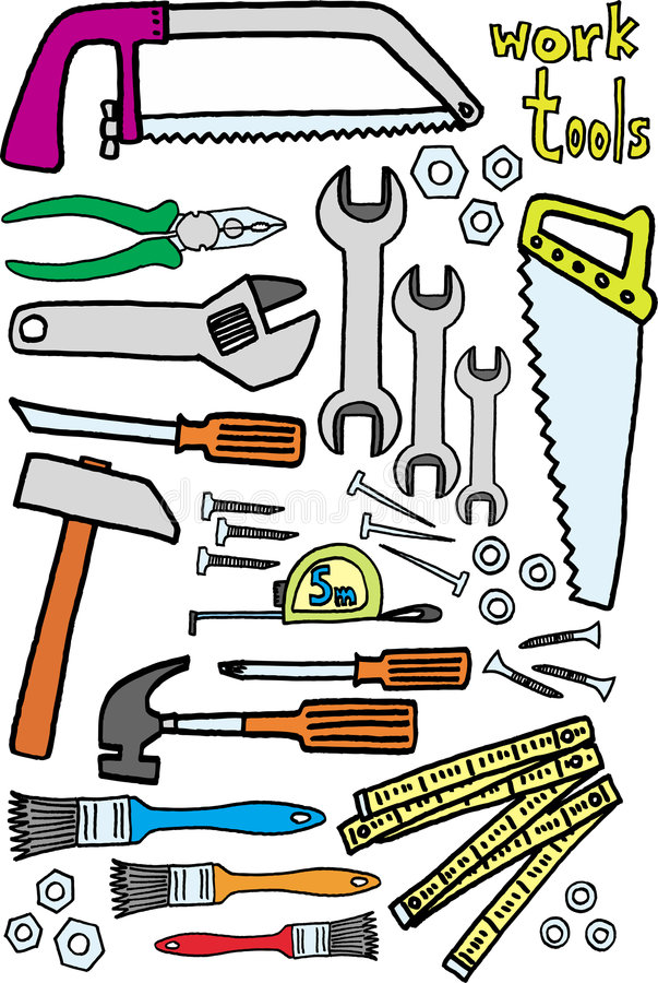 Download Work tools stock vector. Illustration of background, nails - 5972036