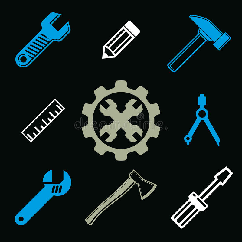 Work tools collection, vector repair instruments for carpentry royalty free illustration