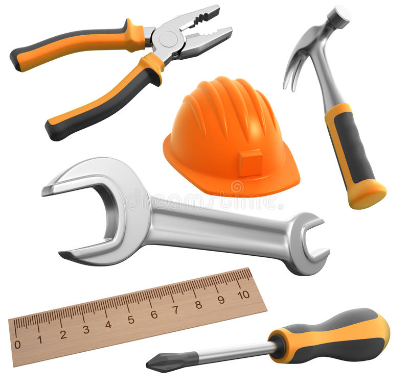 Work tools. 3d render with a work path vector illustration