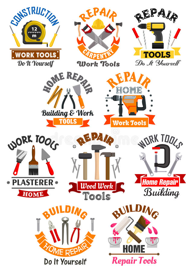 Work tools emblems set for repair, construction. Repair, construction, building, carpentry emblems with work tools icons. measure tape and screwdriver, safety royalty free illustration