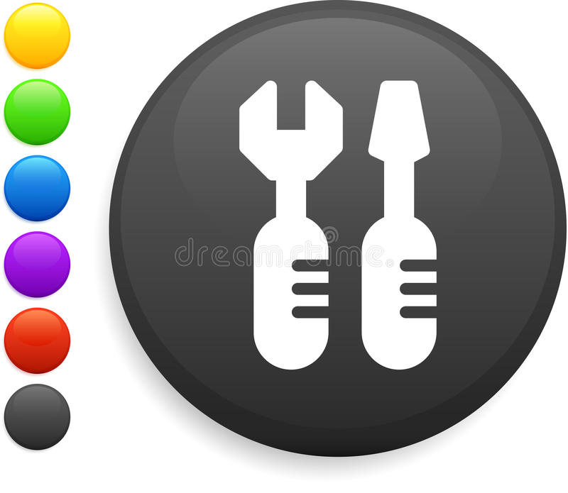 Work tools icon on round internet button vector illustration