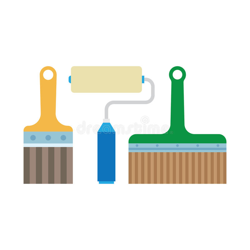Work tools - paint brush and roller royalty free illustration