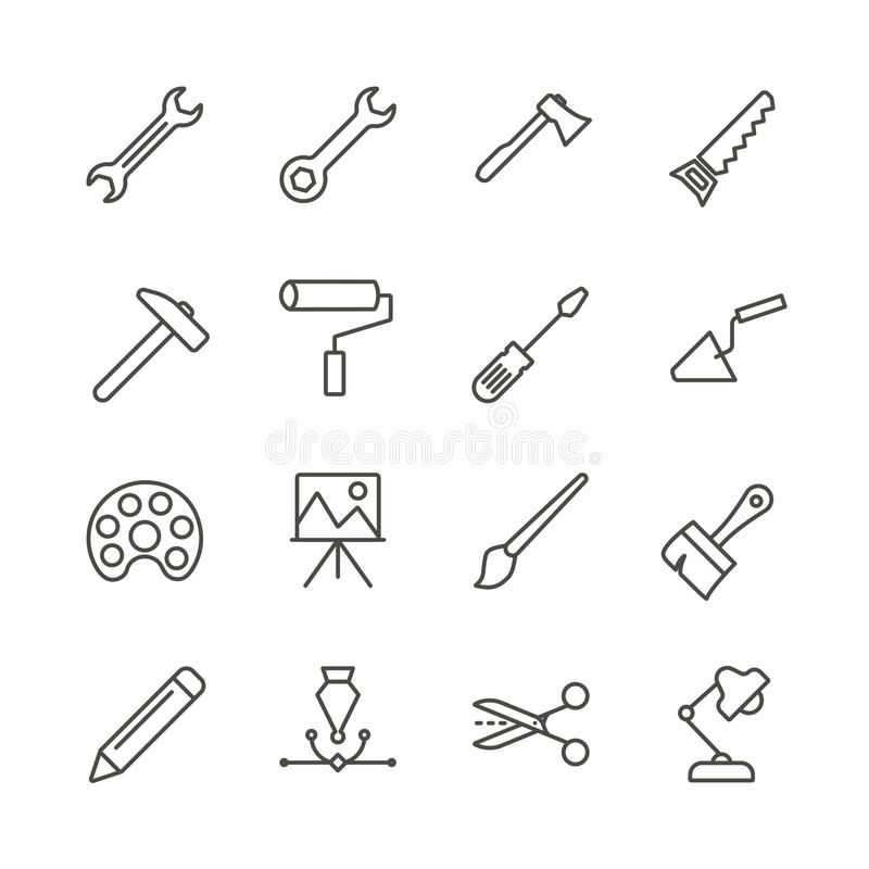 Work tools set icon vector. Outline handmade tools collection. Trendy flat instrument sign design. royalty free illustration