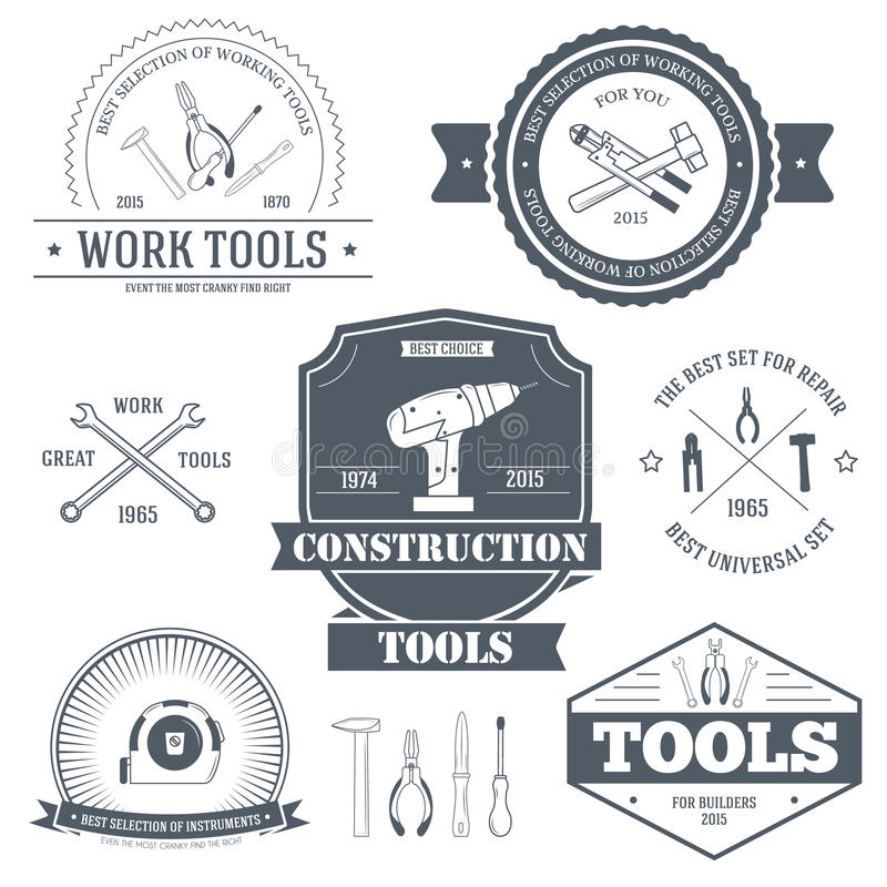 Work tools set label template of emblem element for your product or design, web and mobile applications with text stock illustration