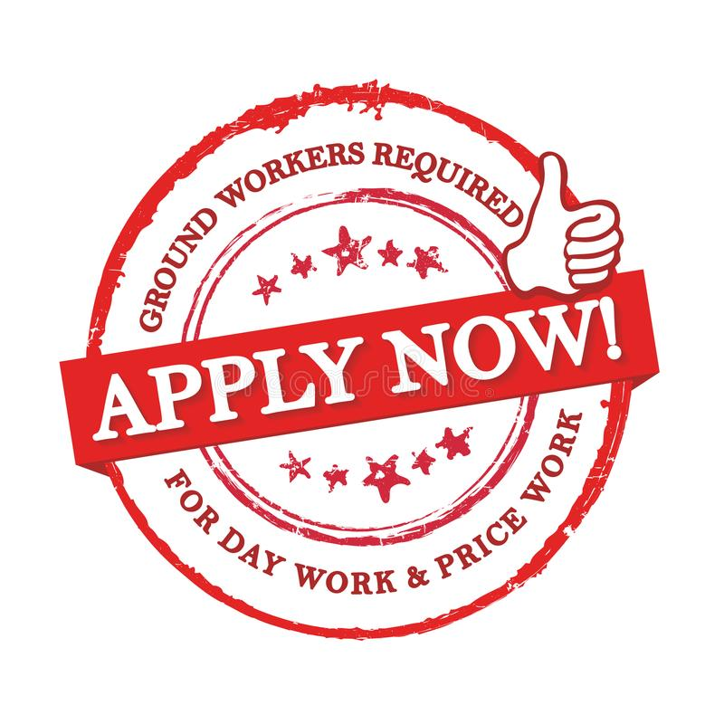 We are hiring ground workers - red stamp / label for print. Work with us! We are hiring ground workers for day work and price work. Grunge printable sticker / vector illustration
