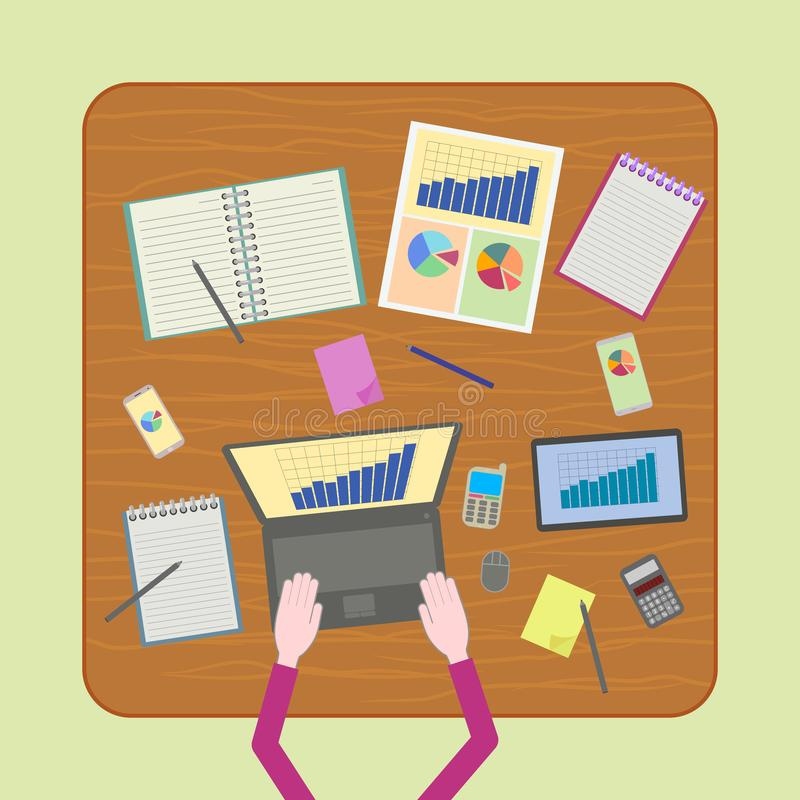 Work using so many digital devices. Working with so many digital devices and papers. Work under pressure concept illustration stock illustration