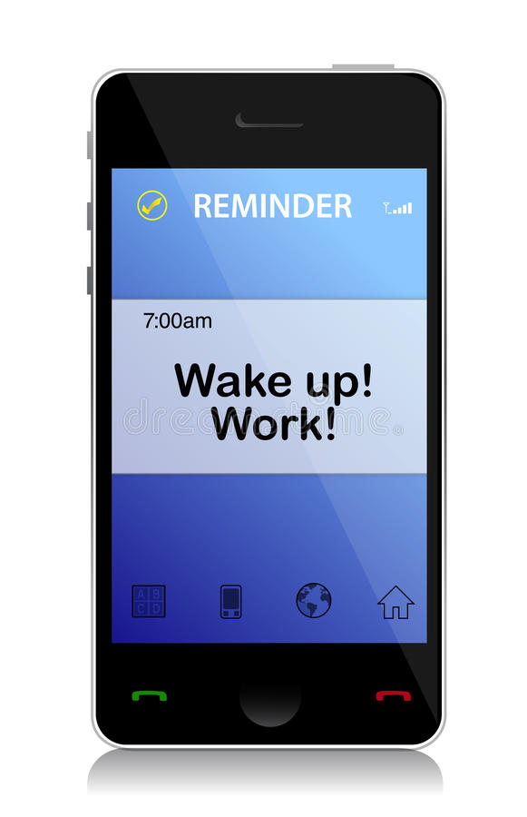 Download Work, Wake up cell message stock illustration. Illustration of clock - 28836007