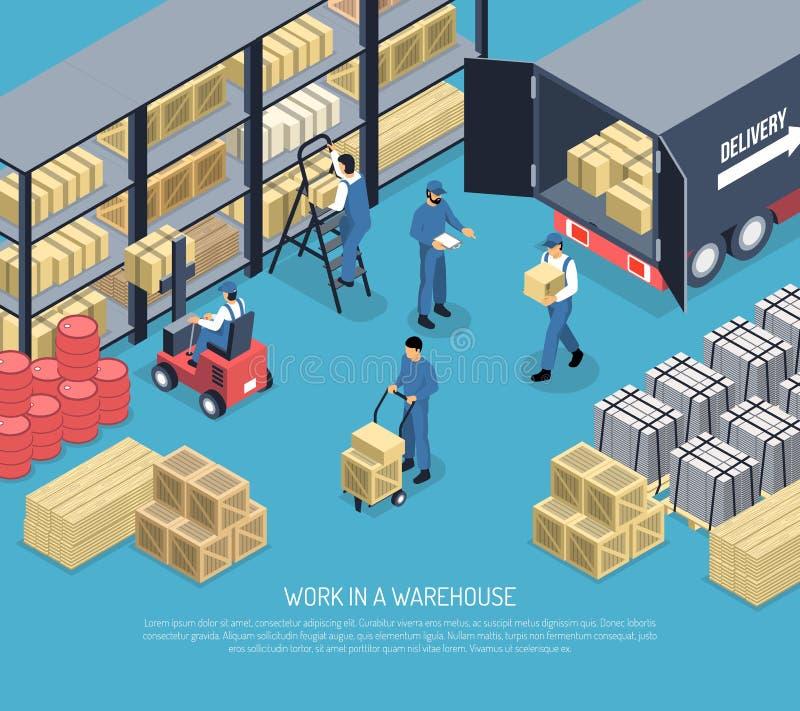 Work In Ware House Illustration stock illustration
