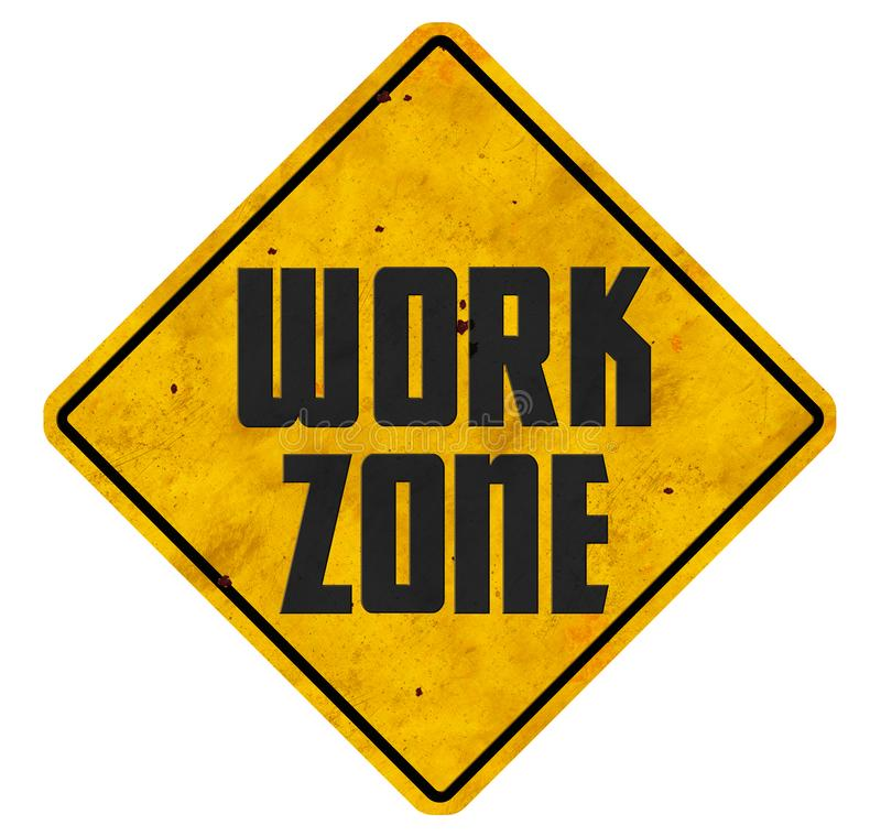 Work Zone Sign Road Ahead grunge business signs royalty free stock photos