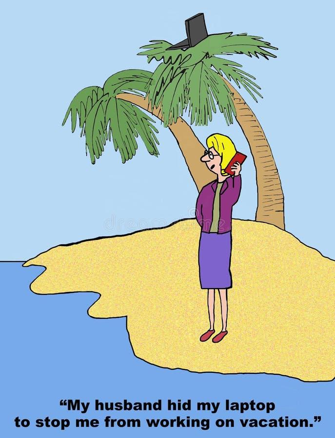 Workaholic na wakacje royalty ilustracja