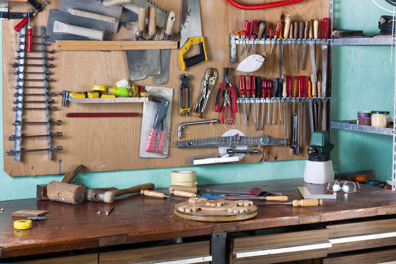 Workbench of handyman royalty free stock image