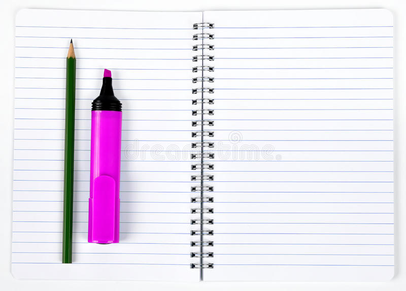 Workbook. With pink felt-tip and pencil stock images