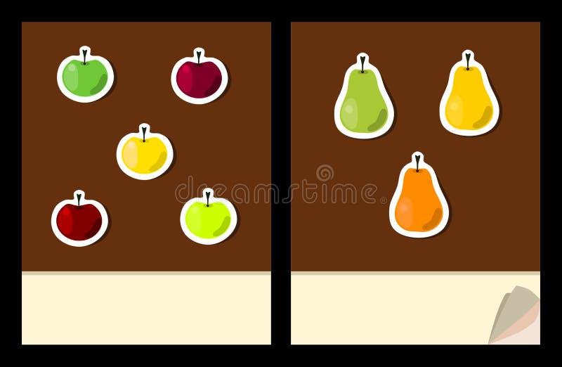 Workbook okładkowy szablon z owocowymi majcherami royalty ilustracja