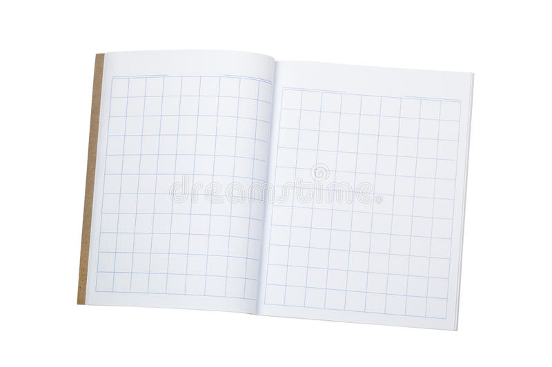 Workbook for writing chinese characters. Blank workbook to practice writing chinese characters isolated on white background stock photography