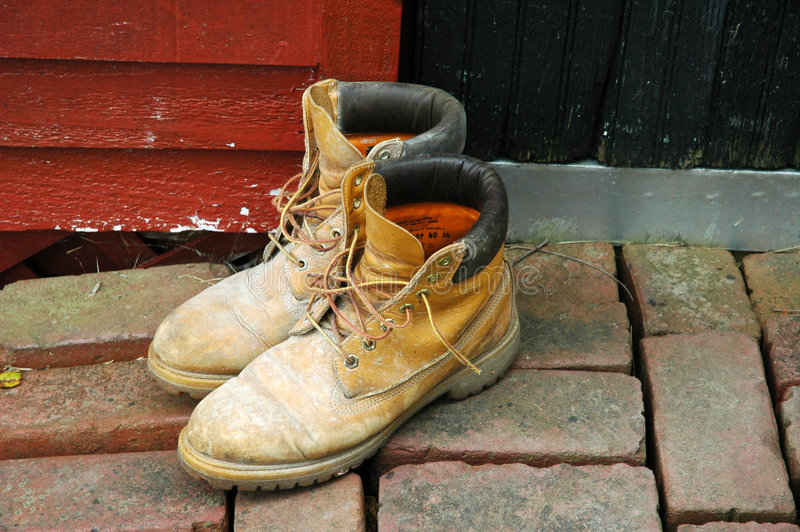 Download Workboots outside the door stock image. Image of brick, caked - 21591