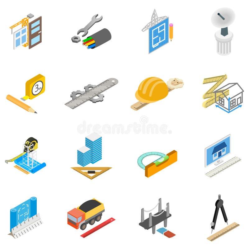 Workday icons set, isometric style stock illustration