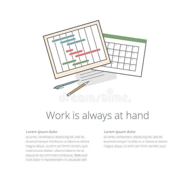 Workdeskillustratie 02 Ganntchart en kalender royalty-vrije illustratie