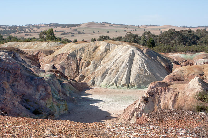 Worked out copper mine. Copper mine in South Australia, now worked out stock photos