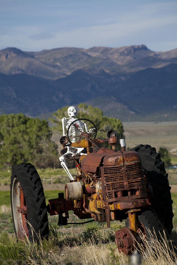 Worked to Death. Skeleton on a old tractor stock photography