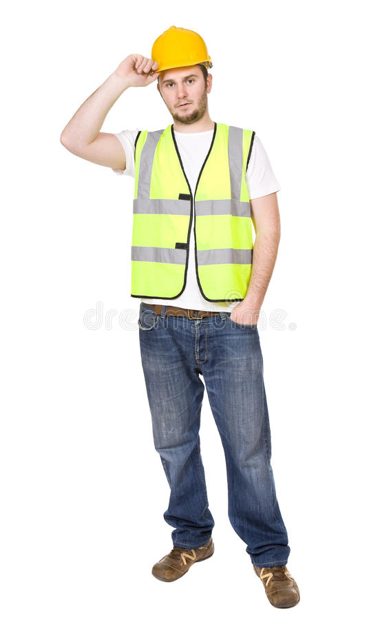 Worker. Young worker over white background royalty free stock image