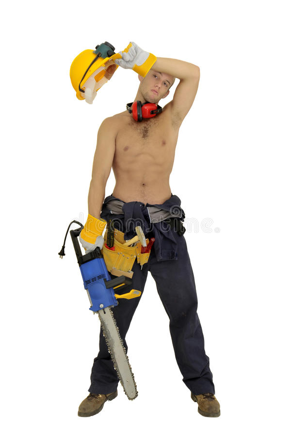 Worker. Muscular construction worker with chainsaw posing isolated in white royalty free stock photo