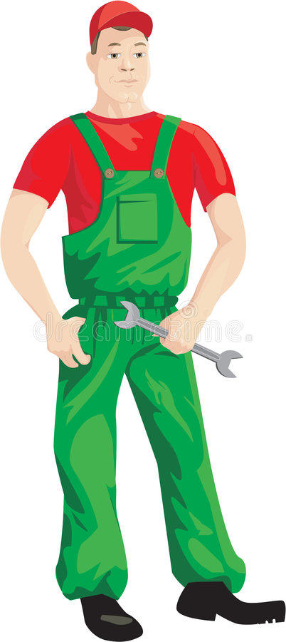 Worker. He is mechanic or another can have a different speciality, for example. The fact that is the character of a working speciality royalty free illustration