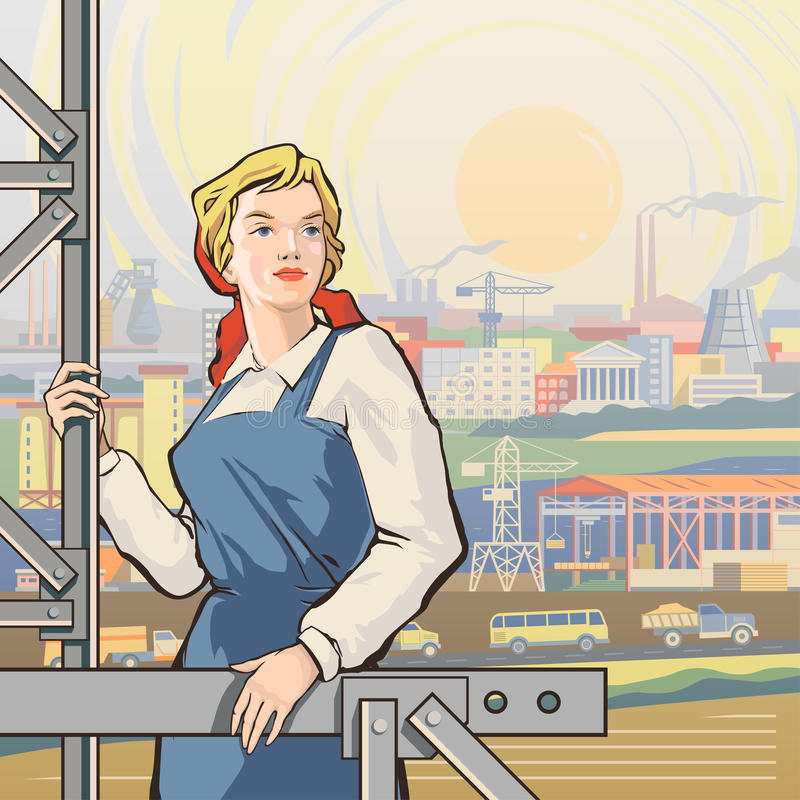 Worker back 2 vector illustration