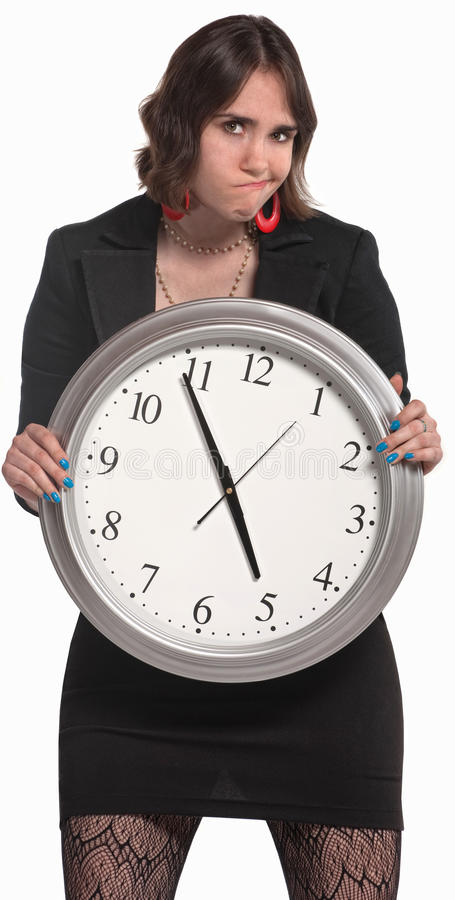 Worker With Big Clock Stock Image