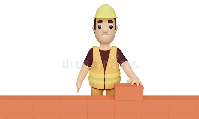 Worker builds a brick wall. 3d rendering. Worker in a protective helmet builds a brick wall isolated on white background. 3d rendering stock illustration