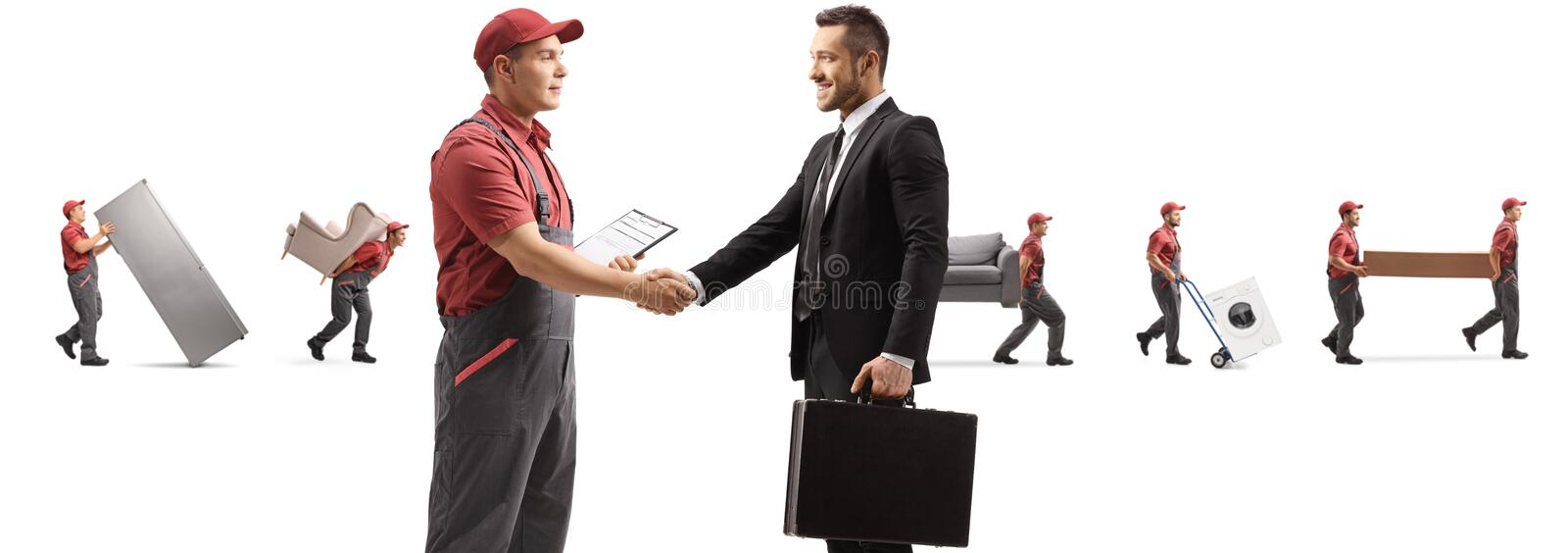 Worker and businessman shaking hands and movers carrying appliences and furniture royalty free stock photo