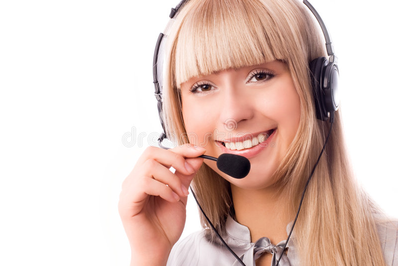 Worker of a call-center. Beautiful woman working in the call-center royalty free stock photos