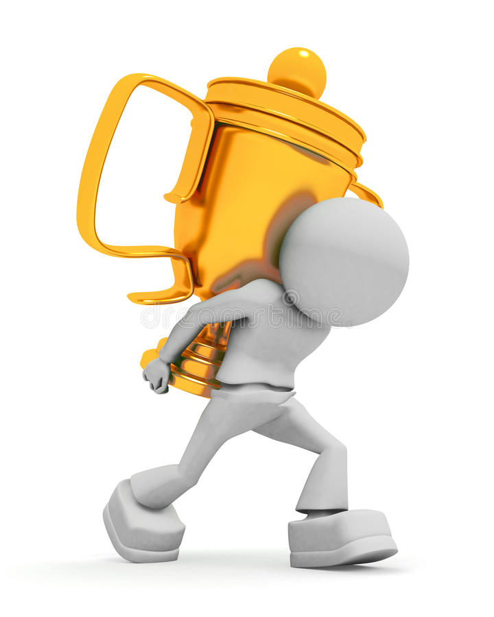 Worker carries cup vector illustration