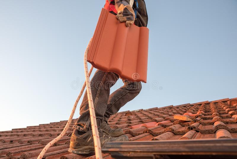 Worker carrying roof tile at the rooftop. Worker carrying roof tile, replacing old moldy shingle with a new one royalty free stock images