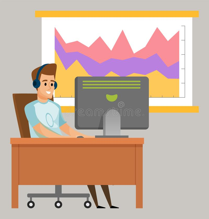 Man Communication with Pc, Chart Board Vector stock illustration