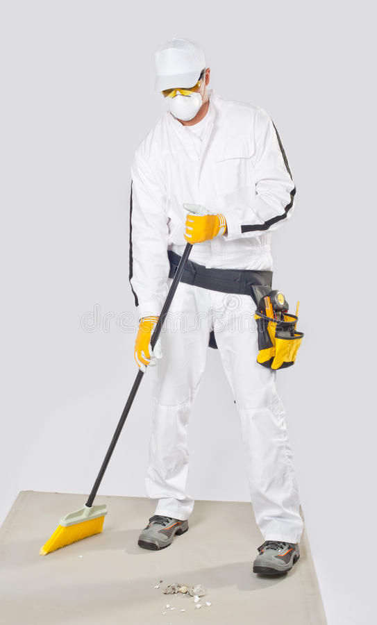 Download Worker Clean Cement Base With Broom Stock Illustration - Image: 25671260