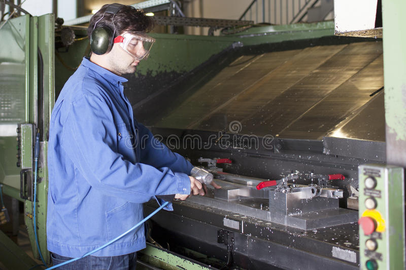 Worker cleaning machine in factory