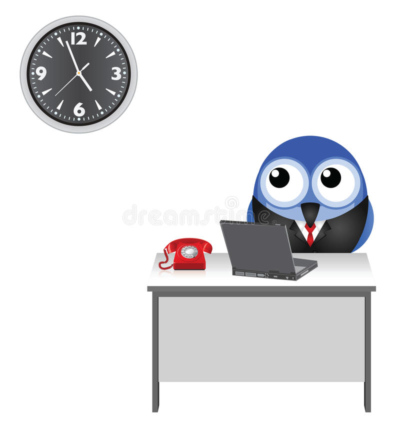 Worker clock watching royalty free illustration
