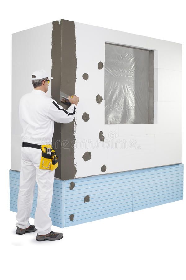 Worker Coating A Corner-lath With A Putty Stock Images