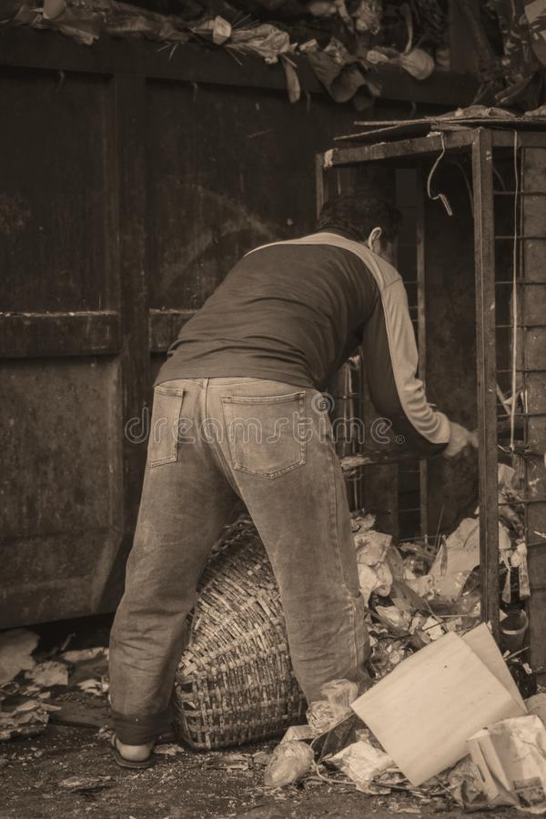 A worker collects the plastic rubbish to a basket for recycling.  royalty free stock photography