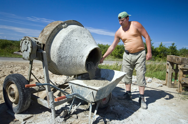Worker And Concrete Mixer Stock Image Image Of Site