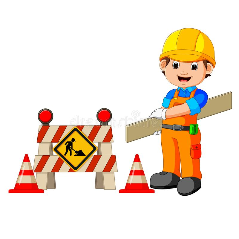 Worker with construction sign. Illustration of worker with construction sign stock illustration
