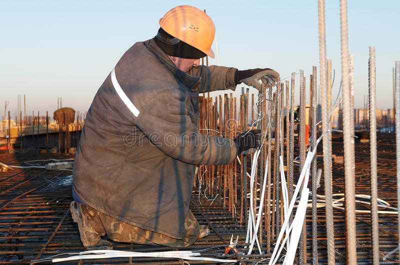 Download Worker At Construction Site Making Stock Image - Image: 13691191