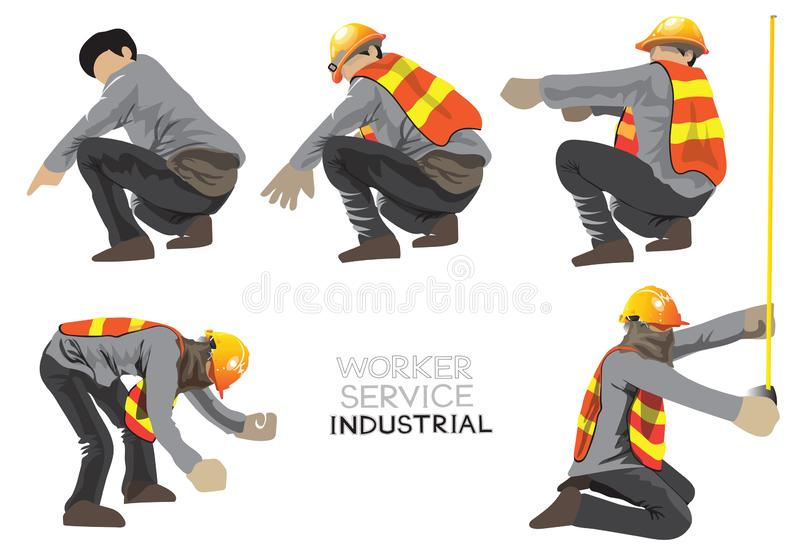 Worker construction team character cartoon acting of Civil engineering 1in 4 royalty free illustration